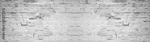 White gray light damaged rustic brick wall texture banner panorama