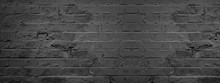 Dark Black Anthracite Damaged Rustic Brick Wall Texture Banner Panorama