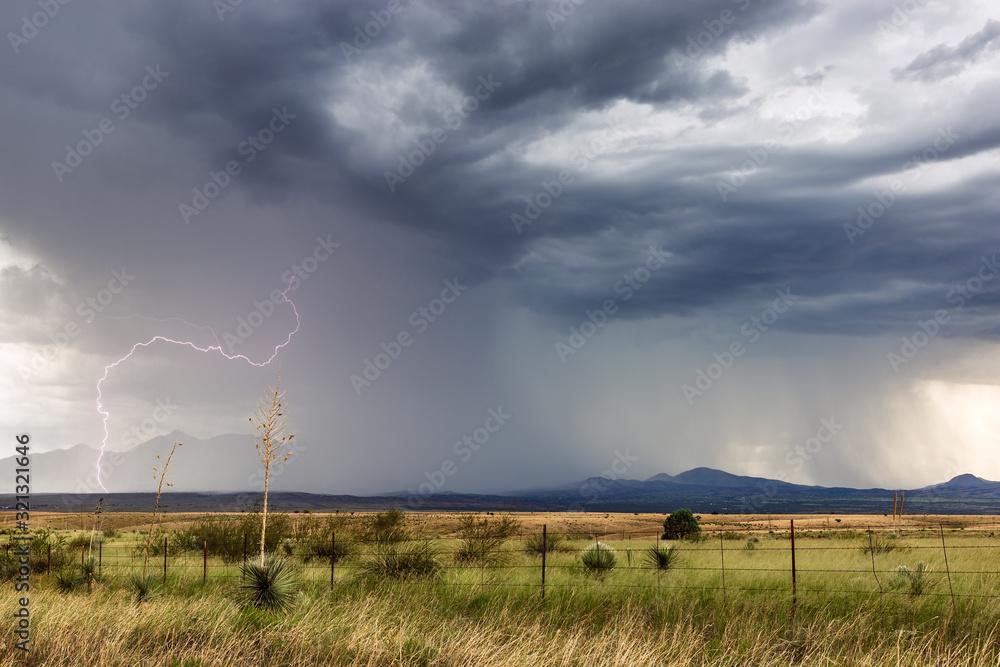 Fototapeta Thunderstorm with heavy rain and lightning