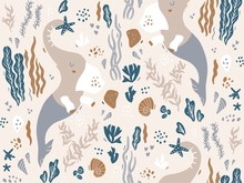 Seamless Pattern With Mermaid ...