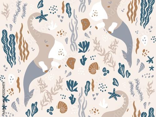 Photo Seamless pattern with mermaid elephant seaweed, algae, corals, shells, starfish
