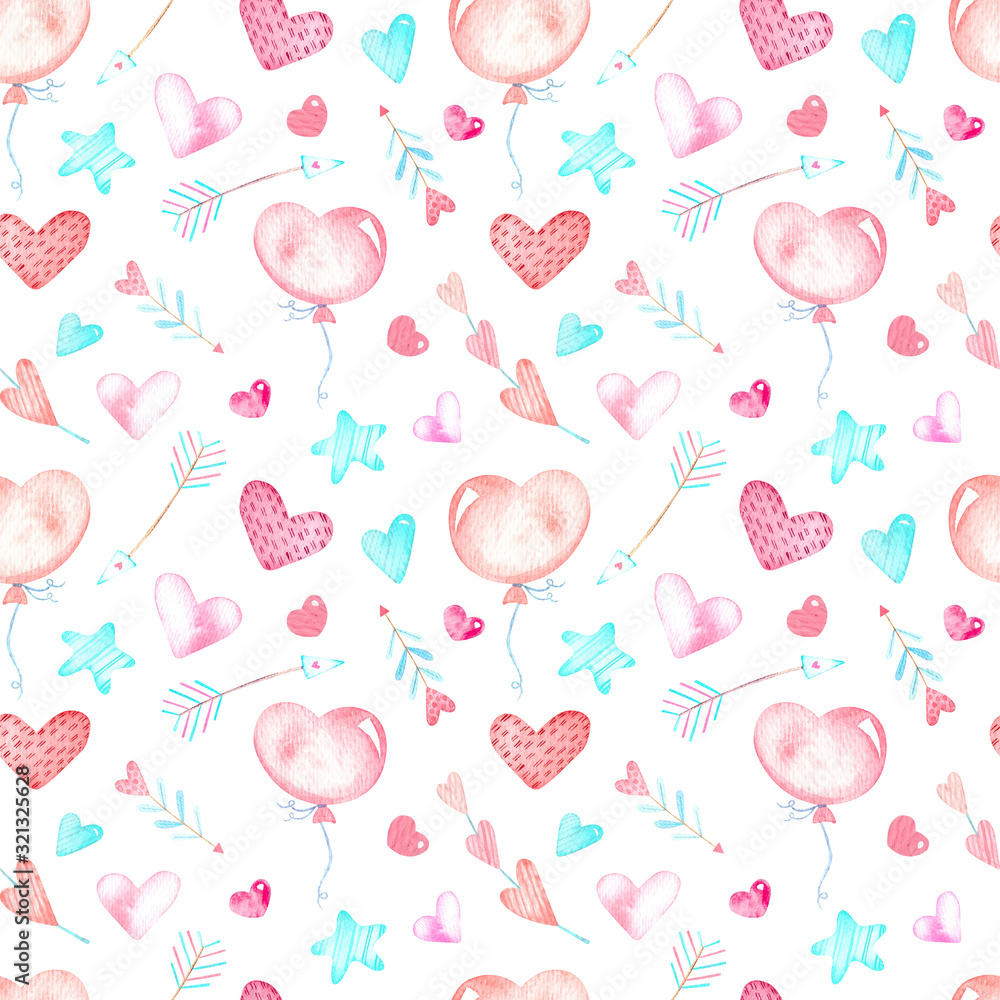 Seamless pattern, balloons, hearts and arrows, pastel colors, watercolor.