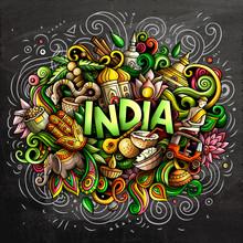 India Hand Drawn Cartoon Doodles Illustration. Funny Design.