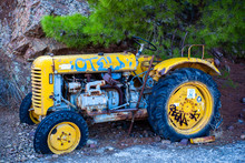 Abandoned Tractor With Graffiti Loss Of Farming Agriculture No Repairs
