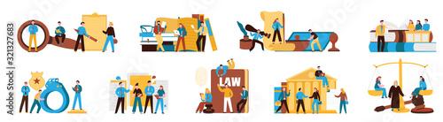 Law Justice Compositions set Tablou Canvas
