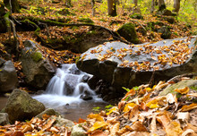 Little Waterfall In The Forest With Leaves In Autumn. Long Exposure.