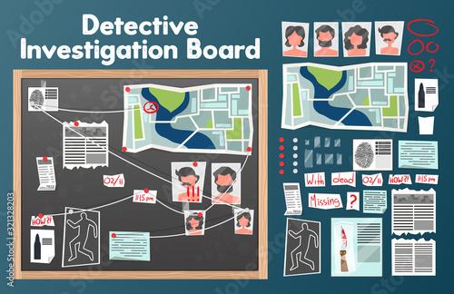 Fototapeta Investigation Board Detective Set