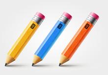 Vector Short Pencil, Realistic...