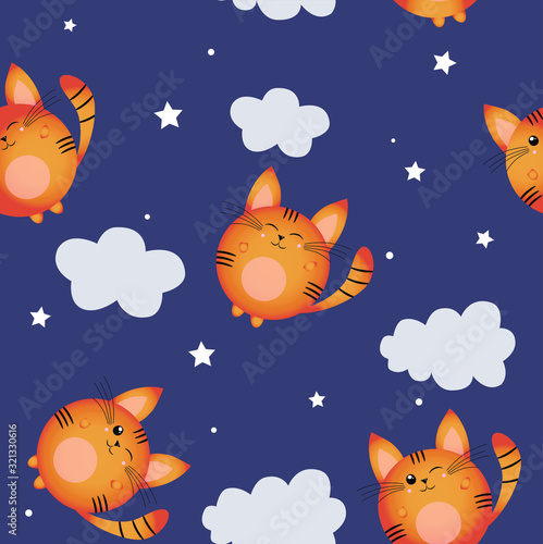 Pattern with a kitten and cloud on a dark night background.  Vector children's illustration. Sleepy dreams. Print.