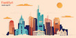 Frankfurt city colorful paper cut style, vector stock illustration. Cityscape with all famous buildings. Skyline Frankfurt city composition for design.