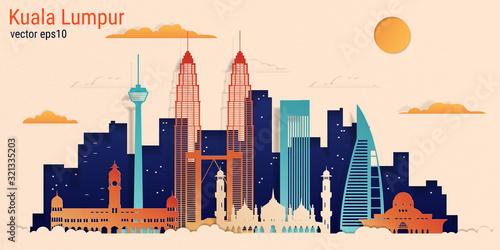 Kuala Lumpur city colorful paper cut style, vector stock illustration Wallpaper Mural