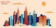 New York city colorful paper cut style, vector stock illustration. Cityscape with all famous buildings. Skyline New York city composition for design.