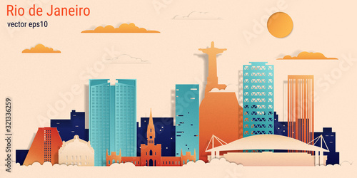 Rio de Janeiro city colorful paper cut style, vector stock illustration Canvas Print