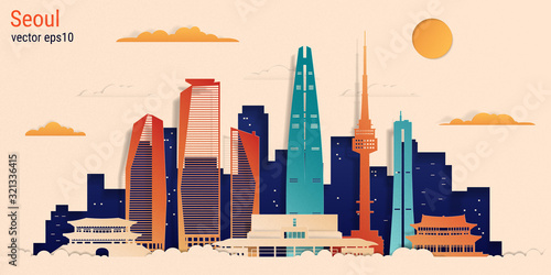Seoul city colorful paper cut style, vector stock illustration Canvas Print