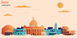 Rome city colorful paper cut style, vector stock illustration. Cityscape with all famous buildings. Skyline Rome city composition for design.