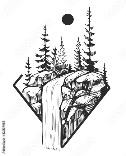 Obraz Wild natural landscape. Tattoo sketch. Transparent background. Hand drawn illustration converted to vector. Great for travel ads, brochures, labels, flyer decor, apparel, t-shirt print. - fototapety do salonu