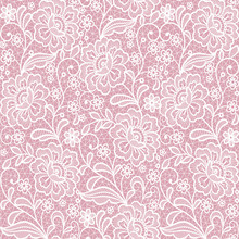 Pink Seamless Lace Floral Background