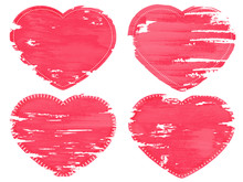 Set Of Four Grunge Hearts. Eff...
