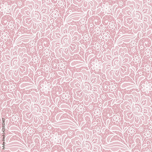 Valokuvatapetti pink seamless lace floral background