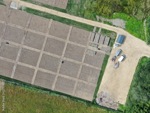 aerial view of new allotments looking vertically down from above Canvas Print