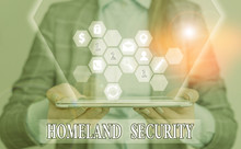 Conceptual Hand Writing Showing Homeland Security. Concept Meaning Federal Agency Designed To Protect The USA Against Threats