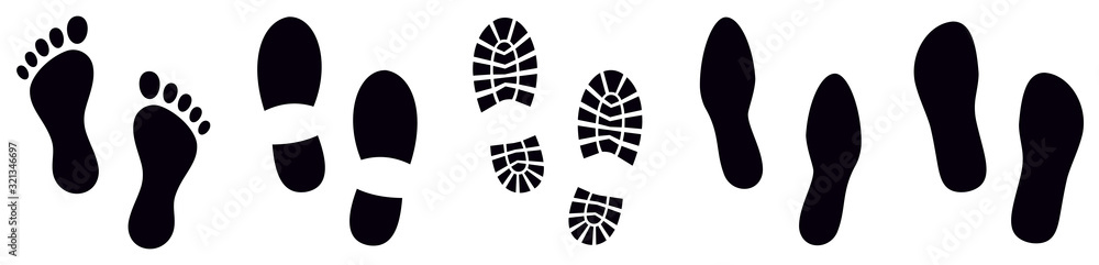 Fototapeta Footprint. Different human footprints. Vector