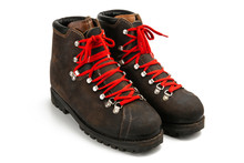 Isometric View Of A Pair Of Old Stylish Hipster Classic Brown Leather Boots With Red Laces On White Background