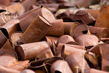 Pile Of Old Rusted Tin Cans On...