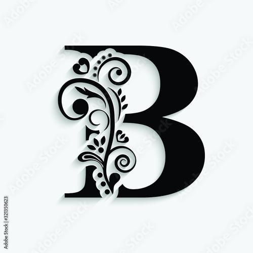 Fototapeta letter B. Black flower alphabet.  Beautiful capital letters with shadow obraz