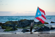 Puerto Rican Flag Blowing In T...