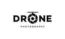 Drone Camera Lens Photography Lettering Typography Wordmark Logo Design