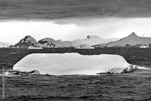 Floating Black White Iceberg Water Antarctica