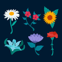 Spring Blooming Flowers Isolated On Dark Blue.Vector