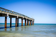 Ocean Scape View With Fishing Pier