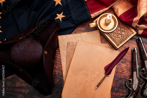 Federalist papers and the birth of the United States of America concept with tri Fototapet