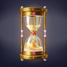 Precious Sand Clock With Golde...