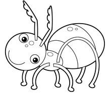 Cartoon Animal Insect Ant On White Background - Coloring Page - Illustration