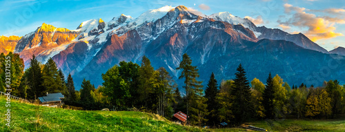 Canvas Print The French Alps and Mont Blanc Tower Above Pastoral Scene at Sunset