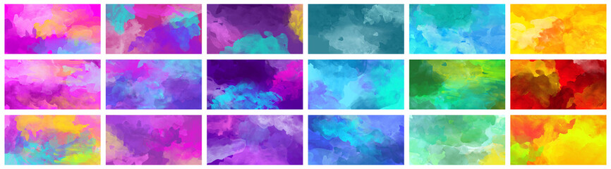 Big set of bright colorful watercolor background textures