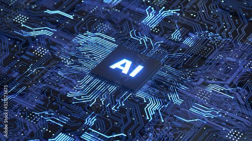 AI,Circuit board,Artificial Intelligence concept Canvas Print
