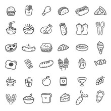 Set Of 36 Food Doodle Icons In...
