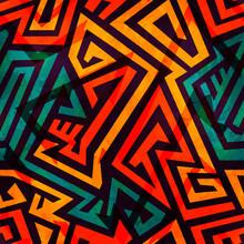 Orange Maze Seamless Pattern W...