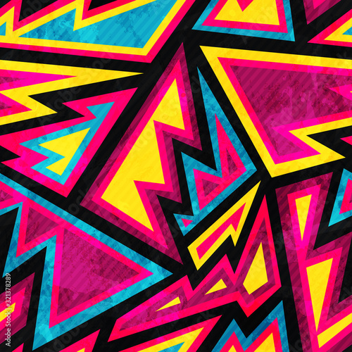 Fotografía psychedelic colored geometric seamless pattern