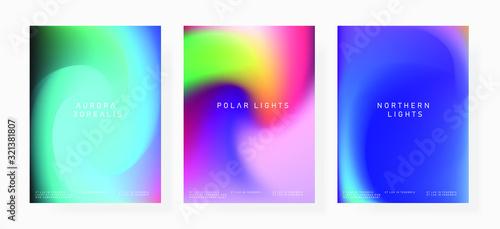 Fototapeta Set of shiny iridescent holographic foil texures for poster and cover design.  obraz na płótnie