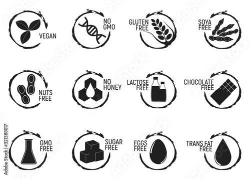 Set of allergen food, GMO free products icon and logo Canvas Print
