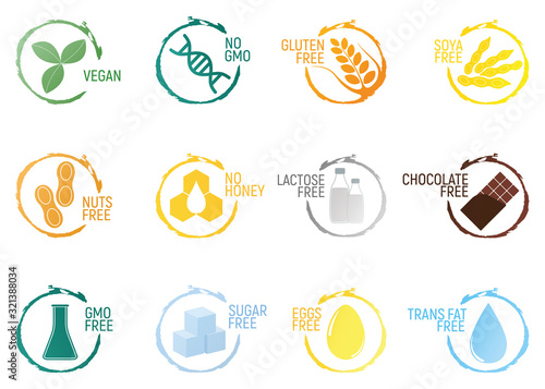 Photo Set of allergen food, GMO free products icon and logo