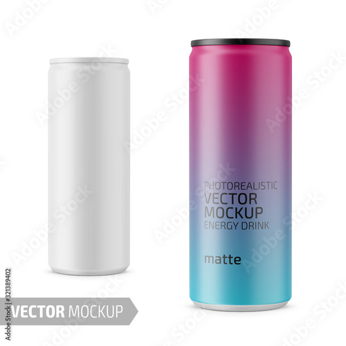 White matte energy drink can vector mockup. Canvas Print