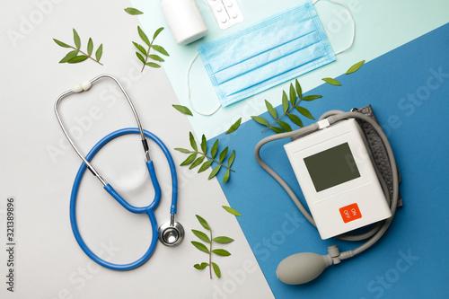 Fototapeta First aid kit on color background obraz na płótnie