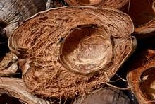 Half Of An Empty Coconut Husk.