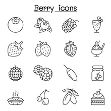 Berries Icon Set In Thin Line Style